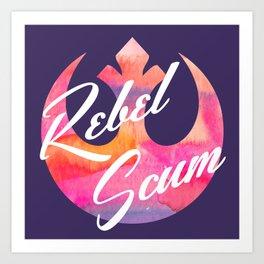 Rebel Scum Sunset Watercolor on Purple Art Print