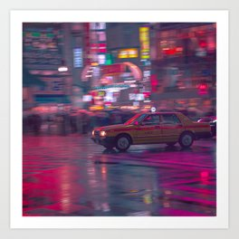 Tokyo Night Taxi Art Print
