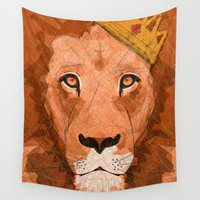 lions Wall Tapestries featuring King of Lions by  Steve Wade ( Swade)