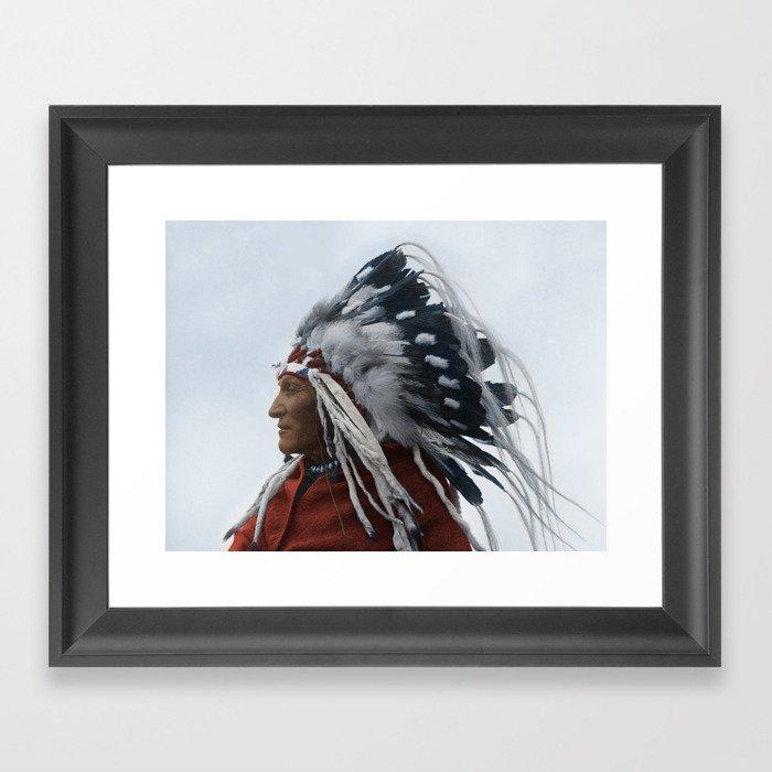 Lazy Boy - Blackfoot Indian Chief Framed Art Print