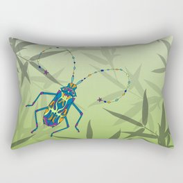 Insect Bamboo leaves Green Unique Pattern Rectangular Pillow