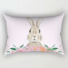rabbit and pink camellia flower Rectangular Pillow