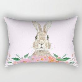 rabbit and pink camellia flower Rectangular Pillow