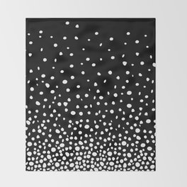 White Polka Dot Rain on Black Throw Blanket