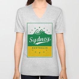 Sydney City, Australia, green yellow, poster Unisex V-Neck