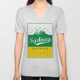 Sydney City, Australia, green yellow, poster Unisex V-Neck