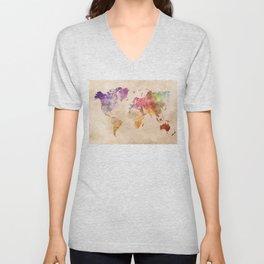 World Map Watercolor Unisex V-Neck