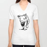 running V-neck T-shirts featuring Running PIG by ARTito