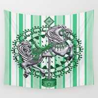 pony Wall Tapestries featuring Pony Green by The Victorian Fantasy