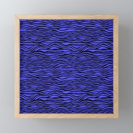 Black and Bright Neon Blue Tiger Stripes Animal Print Framed Mini Art Print