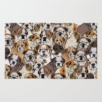 english bulldog Area & Throw Rugs featuring Social English Bulldog by Huebucket