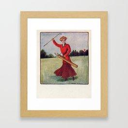 On the Links! Vintage 1905 Postcard Framed Art Print