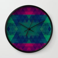 geo Wall Clocks featuring Geo by Catherine Stuckrath