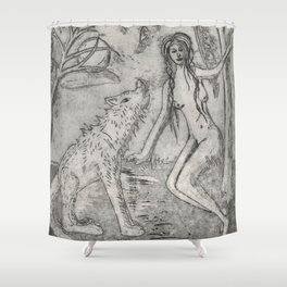 Nude and wolf Shower Curtain