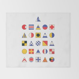 Navy Alphabet Pattern Throw Blanket