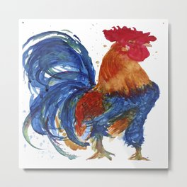 Rooster Proud watercolour by CheyAnne Sexton Metal Print