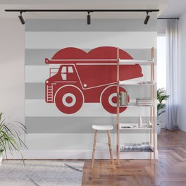 Red Dump Truck on Gray Stripes Wall Mural