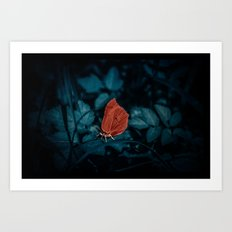 Red in the dark Art Print