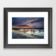 Magic reflections. Sunset at the lake Framed Art Print