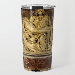 La Pieta Sculpted by Michelangelo photographed at St-Peter's Basilica Travel Mug