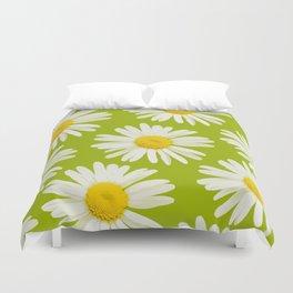 Daisies on a vivid green background - #Society6 #buyart Duvet Cover