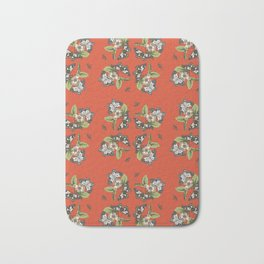 Butterflies and Camellias on Red Pattern Bath Mat