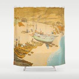 Boshu Beach Vintage Beautiful Japanese Woodblock Print Hiroshi Yoshida Shower Curtain