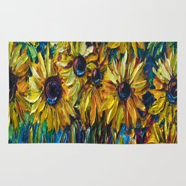 Sunflowers In A Vase Palette Knife Painting Rug