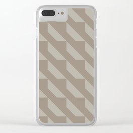 Modern Simple Geometric 4 in Taupe Clear iPhone Case