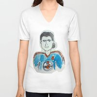 hockey V-neck T-shirts featuring Hockey by short stories gallery