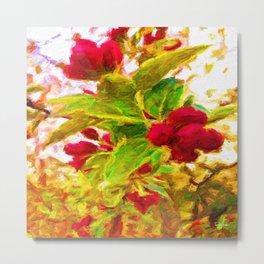 Festive Red Berries on Dancing Green Leaves Metal Print