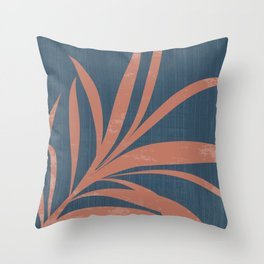 Blue Abstract Leaf Throw Pillow