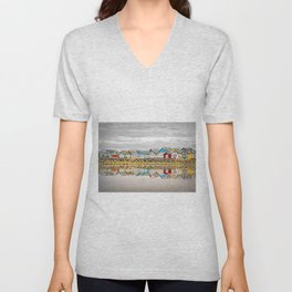 Beach Houses, Mudeford Sandbank, Bournemouth, UK Unisex V-Neck