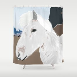 Icelandic Horse, Iceland Travel Poster Shower Curtain