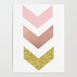 Rose gold chevron Poster