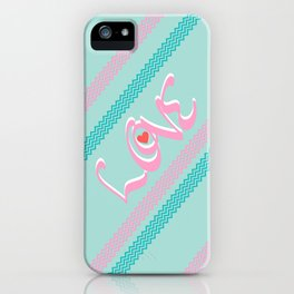 Pink&green mint Love iPhone Case