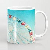 ferris wheel Mugs featuring Ferris Wheel by Mina Teslaru