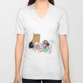 Teatime//because every cat deserves to be spoiled Unisex V-Neck