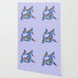 MODERN ART BLUE & RED TROPICAL MACAWS IN FLIGHT ART f Wallpaper
