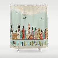 indiana Shower Curtains featuring visit Indianapolis Indiana by bri.buckley