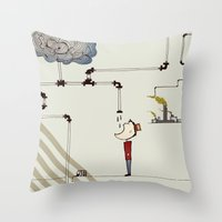 cycle Throw Pillows featuring cycle by bri musser