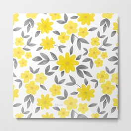 Watercolor Spring Summer Flowers, Floral Pattern in Illuminating Yellow and Ultimate Gray Color Metal Print