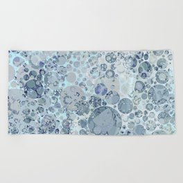 Abstract Faded Blue Grey Bubbles Beach Towel