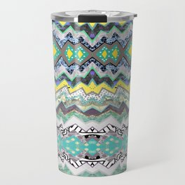 Teal Yellow White Midnight Aztec Travel Mug