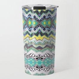 Teal Yellow White Midnight Aztec Travel Mug