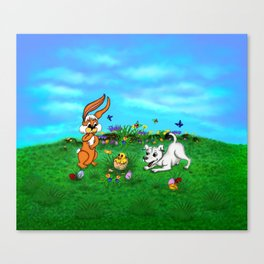 Easter - Spring-awakening - Puppy Capo with Rabbit and Chick Canvas Print