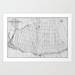 Vintage Map of Williamsburg Brooklyn (1827) Art Print