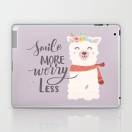 Smile More Worry Less, Cute Baby Alpaca Advice Laptop & iPad Skin