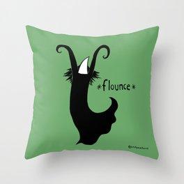 Flounce - green background Throw Pillow