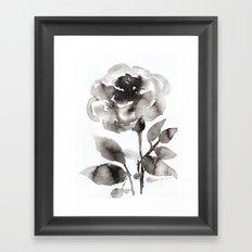 Black Peony Framed Art Print